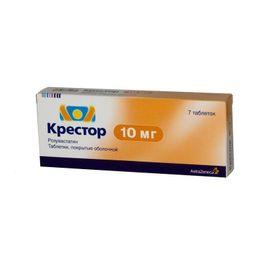 Крестор, 10 мг, таблетки, покрытые пленочной оболочкой, 7 шт.