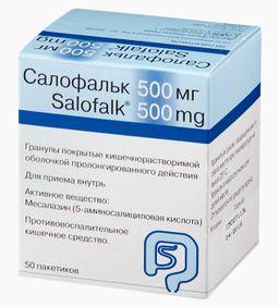 Салофальк, 500 мг, гранулы, покрытые кишечнорастворимой оболочкой, пролонгированного действия, 930 мг, 50 шт.