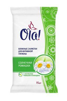 Ola! салфетки влажные для интимной гигиены Солнечная ромашка, салфетки влажные, 15 шт.