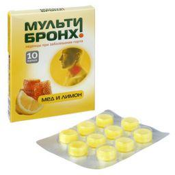 Мульти-Бронх Мед и лимон, пастилки, без сахара, 10 шт.