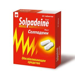 Солпадеин Фаст, 65 мг+500 мг, таблетки, покрытые пленочной оболочкой, 24 шт.
