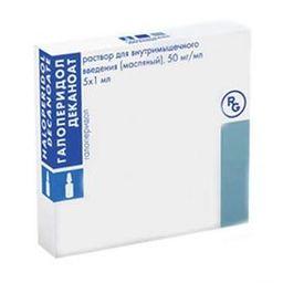 Галоперидол деканоат, 50 мг/мл, раствор для внутримышечного введения (масляный), 1 мл, 5 шт.