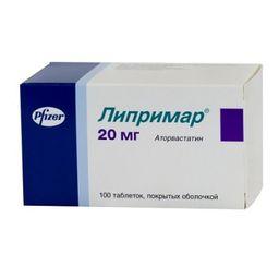Липримар, 20 мг, таблетки, покрытые пленочной оболочкой, 100 шт.