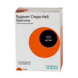Буденит Стери-Неб, 0.25 мг/мл, суспензия для ингаляций дозированная, 2 мл, 20 шт.