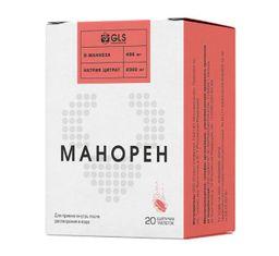 Манорен, 4 г, таблетки шипучие, со вкусом персик-маракуйя, 20 шт.