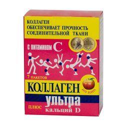 Коллаген Ультра плюс Кальций D, порошок, со вкусом или ароматом яблока, 8 г, 7 шт.
