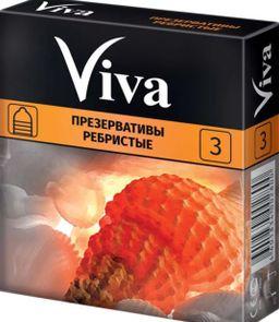 Презерватив Viva, презерватив, ребристые, 3шт.