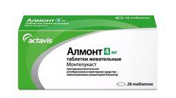 Алмонт, 4 мг, таблетки жевательные, 28шт.