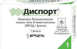 Диспорт, 500 ЕД, лиофилизат для приготовления раствора для инъекций, 3 мл, 1 шт.