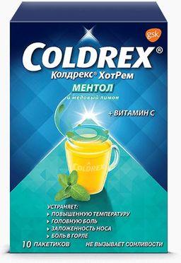 Колдрекс Хотрем, порошок для приготовления раствора для приема внутрь, ментол и медовый лимон, 10 шт.