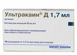 Ультракаин Д, 40 мг/мл, раствор для инъекций, 1.7 мл, 10 шт.