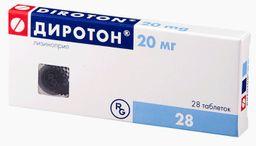 Диротон, 20 мг, таблетки, 28 шт.