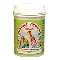 Пивные дрожжи Эко-мон натуральные, 0.5 г, таблетки, 100 шт.