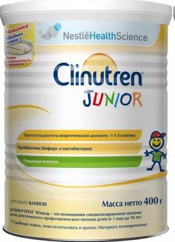 Clinutren Junior смесь для детей 1-10 лет, специализированный продукт диетического питания, со вкусом ванили, 400 г, 1шт.