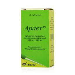 Арлет, 500 мг+125 мг, таблетки, покрытые пленочной оболочкой, 14шт.