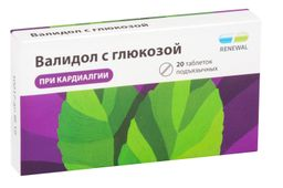 Валидол с глюкозой, 60 мг, таблетки подъязычные, 20шт.