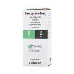 Винкристин-Тева, 1 мг/мл, раствор для внутривенного введения, 2 мл, 1 шт.