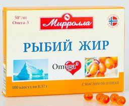 Mirrolla Рыбий жир с облепихой, капсулы, 100шт.