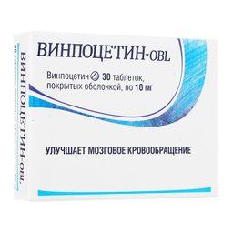 Винпоцетин-OBL, 10 мг, таблетки, покрытые оболочкой, 30шт.
