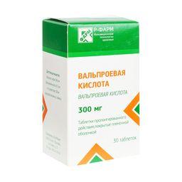 Вальпроевая кислота, 300 мг, таблетки пролонгированного действия, покрытые пленочной оболочкой, 30шт.