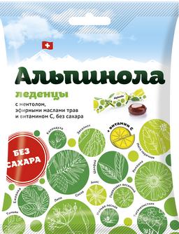 Альпинола леденцы без сахара ментол-эфирные масла трав-витамин С, леденцы, без сахара, 75 г, 1 шт.