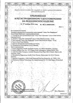 Глюкометр Accu-Chek сертификат