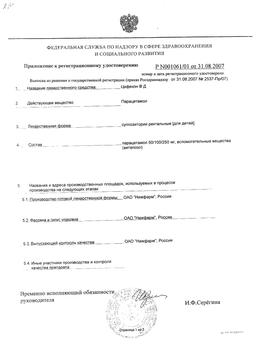 Цефекон Д сертификат