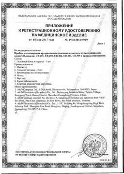 Тонометр AND UB-402 автоматический на запястье сертификат
