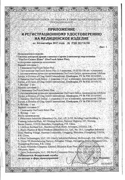 Глюкометр OneTouch Select Plus сертификат
