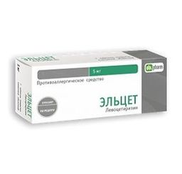 Эльцет, 5 мг, таблетки, покрытые пленочной оболочкой, 14шт.