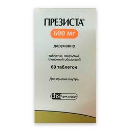 Презиста, 600 мг, таблетки, покрытые пленочной оболочкой, 60 шт.
