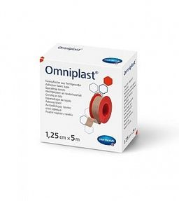 Omniplast Пластырь фиксирующий, 5мх1.25см, пластырь медицинский, тканевая основа, 1 шт.