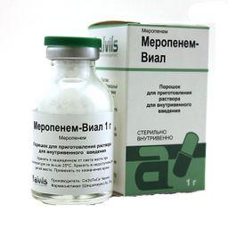 Меропенем-Виал, 1 г, порошок для приготовления раствора для внутривенного введения, 1 шт.
