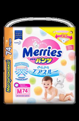 Подгузники-трусики детские Merries, 6-11 кг, р. M, 74шт.