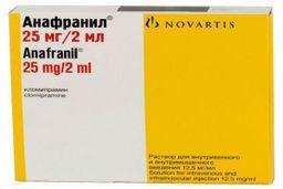 Анафранил, 12.5 мг/мл, раствор для внутривенного и внутримышечного введения, 2 мл, 10 шт.