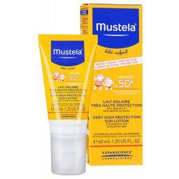Mustela Sun Солнцезащитное молочко для детей SPF-50+, молочко для тела, 40 мл, 1 шт.