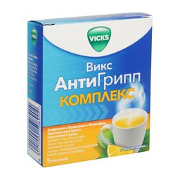 Викс АнтиГрипп Комплекс, порошок для приготовления раствора для приема внутрь, со вкусом лимона, 4,36 г, 5шт.