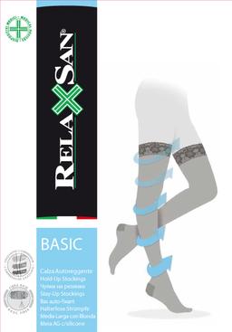 Relaxsan Stay-up Чулки компрессионные 1 класс компрессии 140 DEN, р. 3, арт. 870 (18-22 mm Hg), 140 DEN (черного цвета, на резинке), пара, 1шт.
