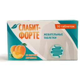 Слабит-Форте со вкусом абрикоса, 500 мг, таблетки жевательные, 30шт.