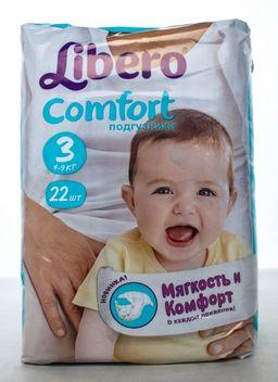 Подгузники-трусики Libero Comfort Midi, 4-9 кг, р. 3, 22шт.