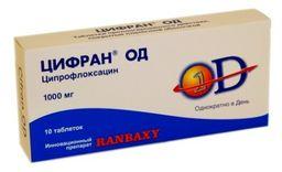 Цифран ОД, 1000 мг, таблетки пролонгированного действия, покрытые пленочной оболочкой, 10 шт.