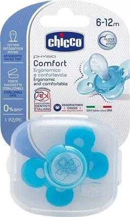 Chicco Physio Comfort Пустышка силиконовая слоники, 6-12 месяцев, 1шт.