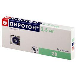 Диротон, 2.5 мг, таблетки, 28 шт.