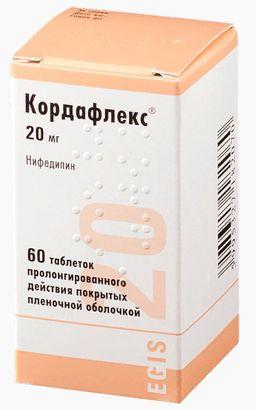 Кордафлекс, 20 мг, таблетки пролонгированного действия, покрытые пленочной оболочкой, 60шт.