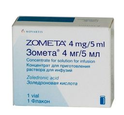 Зомета, 4 мг/5 мл, концентрат для приготовления раствора для инфузий, 5 мл, 1 шт.