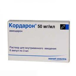 Кордарон, 50 мг/мл, раствор для внутривенного введения, 3 мл, 6шт.