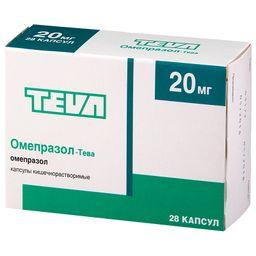 Омепразол-Тева, 20 мг, капсулы кишечнорастворимые, 28шт.
