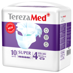 TerezaMed Super подгузники для взрослых ночные, Extra Large XL (4), 100-170 см, 10шт.