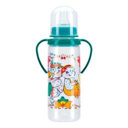 Курносики бутылочка с ручками и силиконовой соской 6 мес+, 250 мл, арт. 11113, с рисунком, в ассортименте, с силиконовой соской, 1шт.