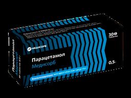 Парацетамол Медисорб, 500 мг, таблетки, 30 шт.